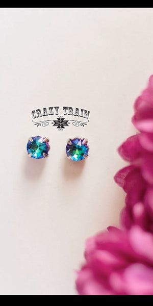 Turquoise Glam Girl Stud Earrings