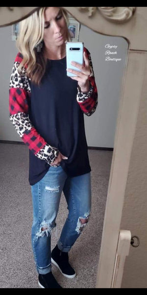 Flagstaff Leopard Buffalo Plaid Top - Also in Plus Size