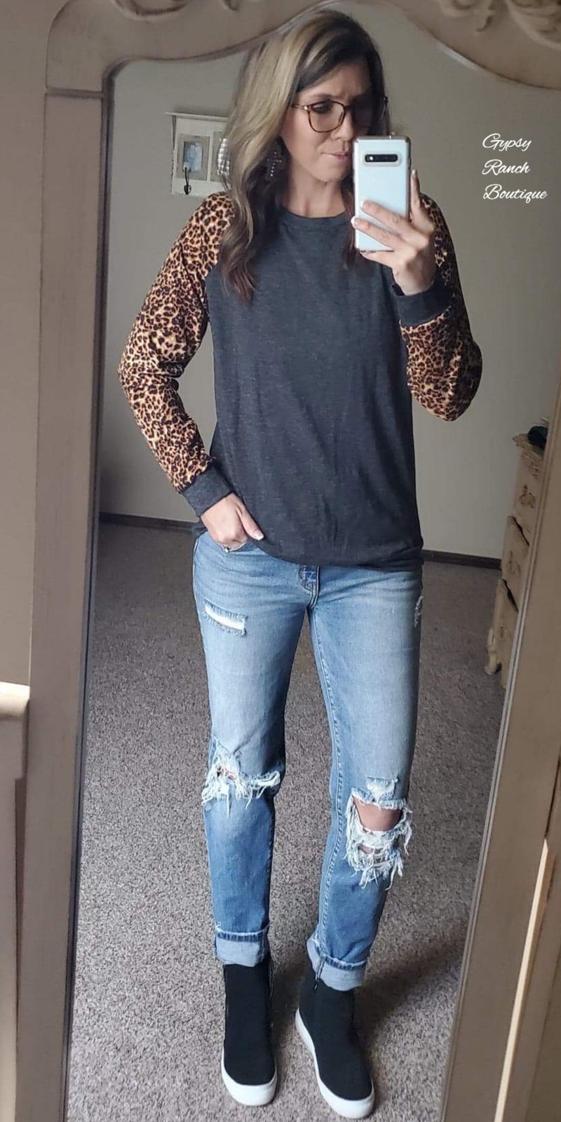 Fire & Ice Leopard Sleeve Top