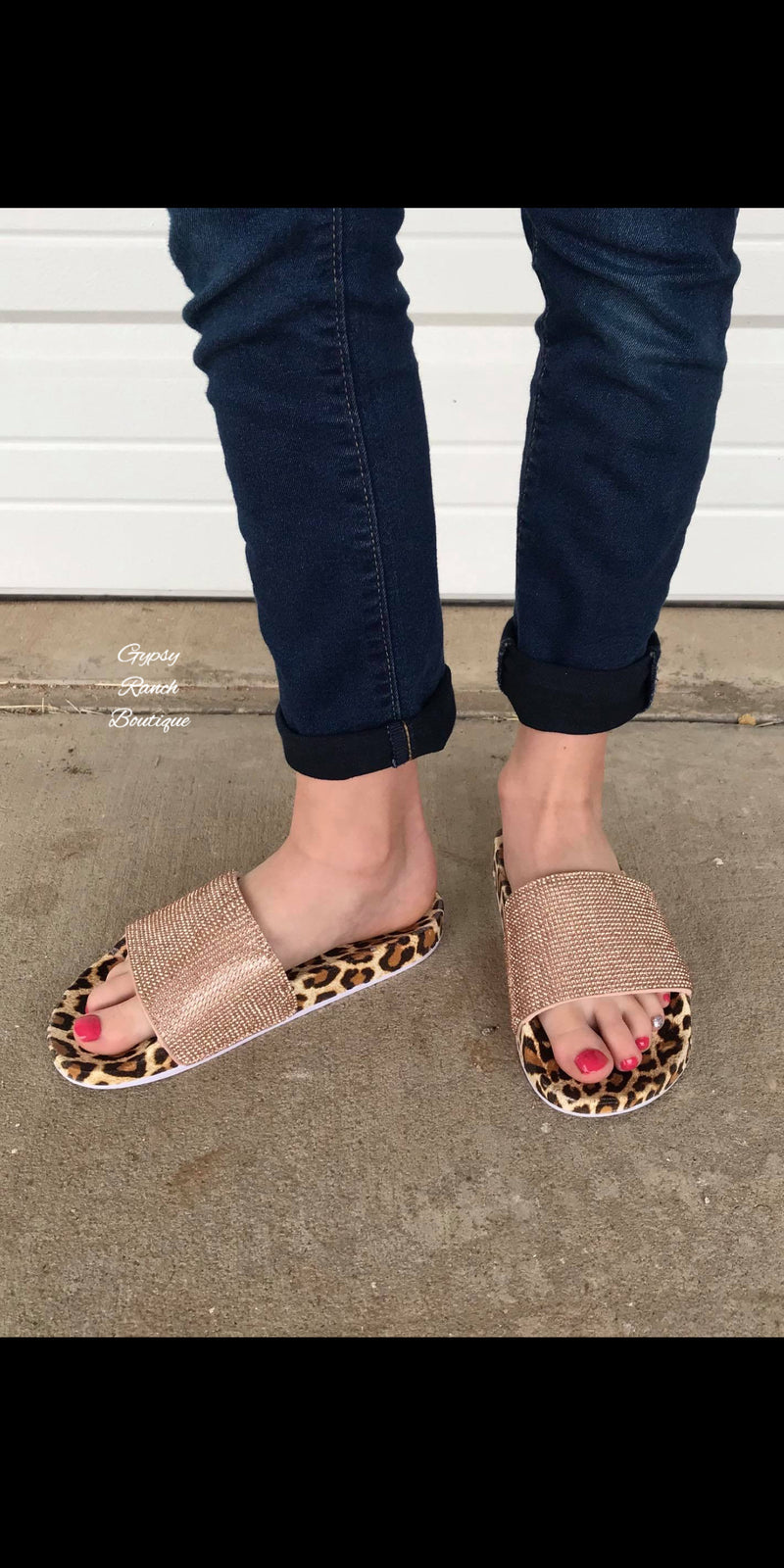 Kids La Bella Leopard Bling Sandals