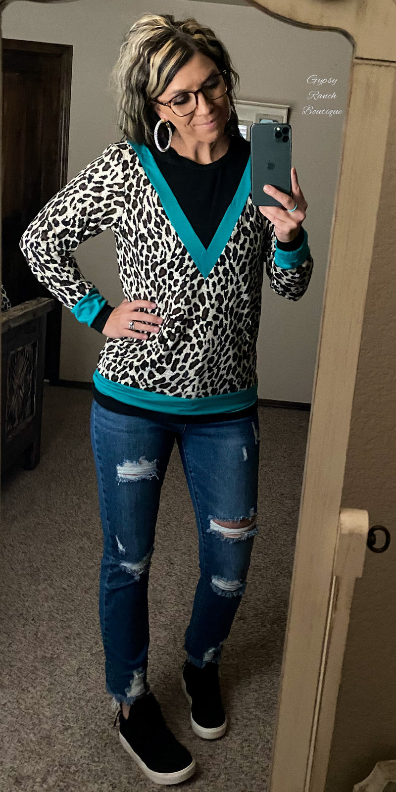 Timber Turquoise Leopard Top - Also in Plus Size