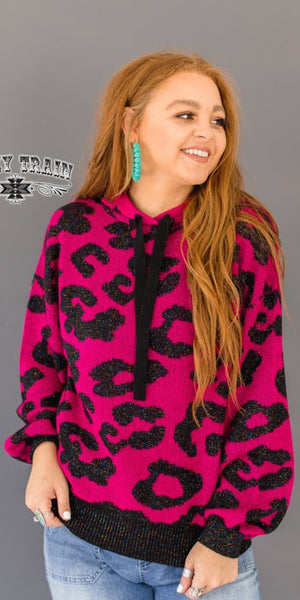 Starburst Leopard Knit Pullover Top - Also in Plus Size