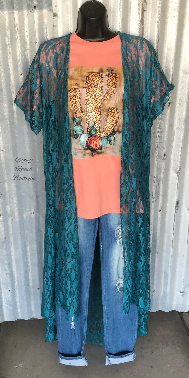 South Fork Aztec Teal Lace Kimono Cardigan - Also in Plus Size