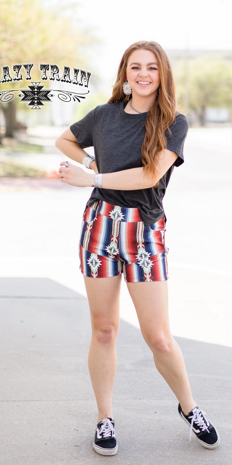 Freedom Aztec Serape Shorts - Also in Plus Size