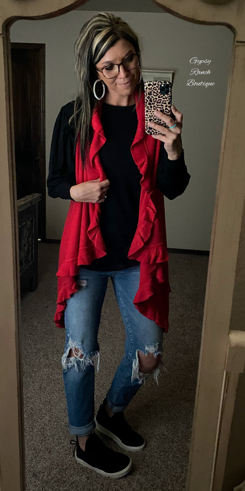 Elida Red Cardigan Vest  - Also in Plus Size