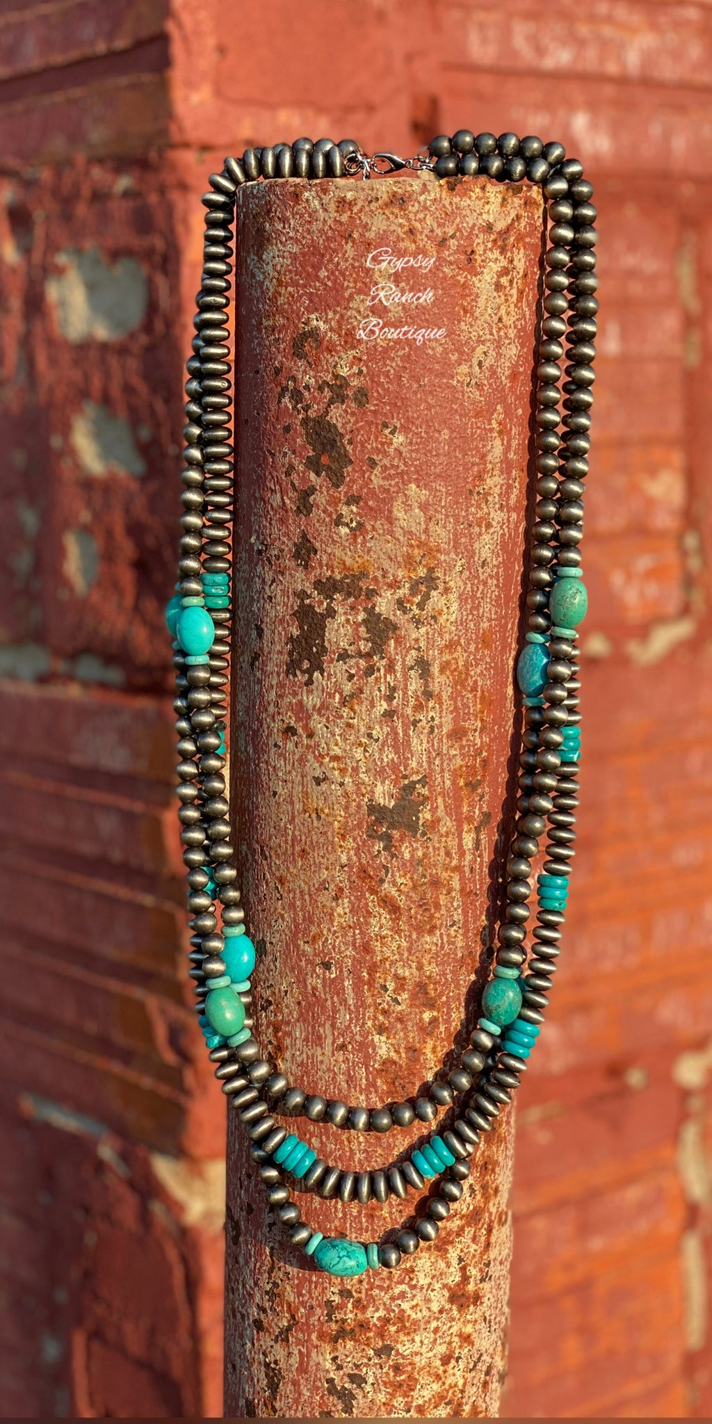 Felicity Turquoise Silver Multi Strand Necklace