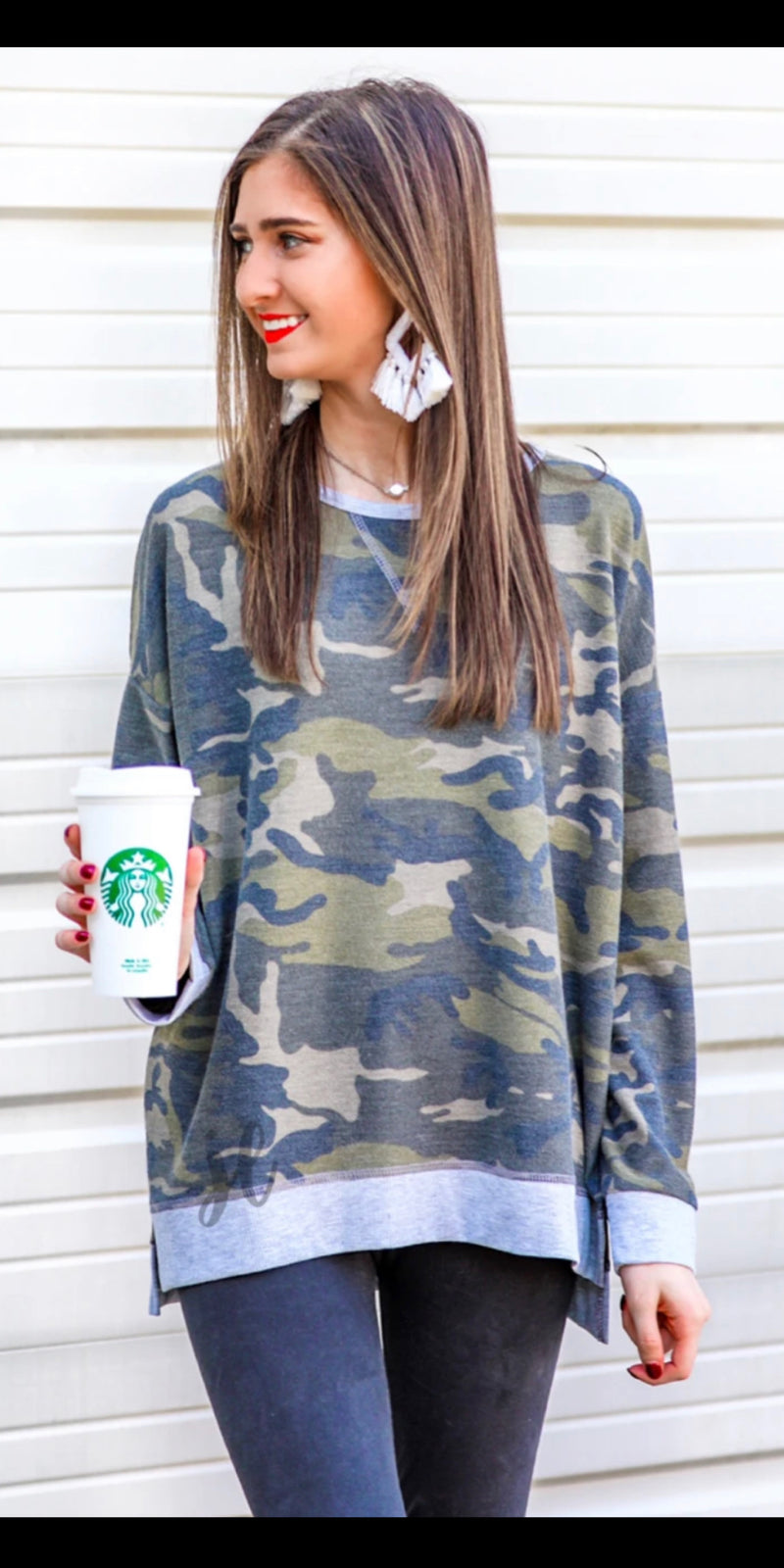 Tanner Camo Tunic Top  - Also in Plus Size