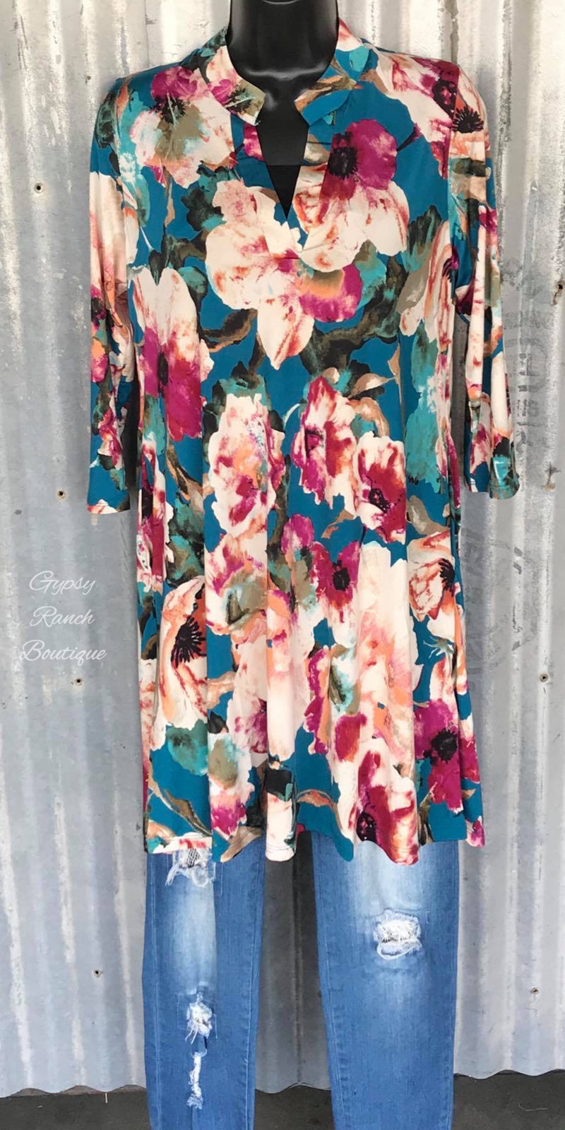 Living the Promise Floral Tunic Top  - Also in Plus Size