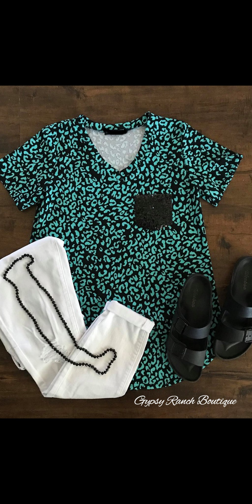 Rutherford Turquoise Leopard Sequin Top - Also in Plus Size