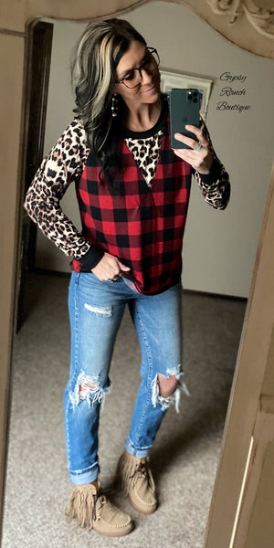 Vanderbilt Leopard Buffalo Plaid Top - Also in Plus Size