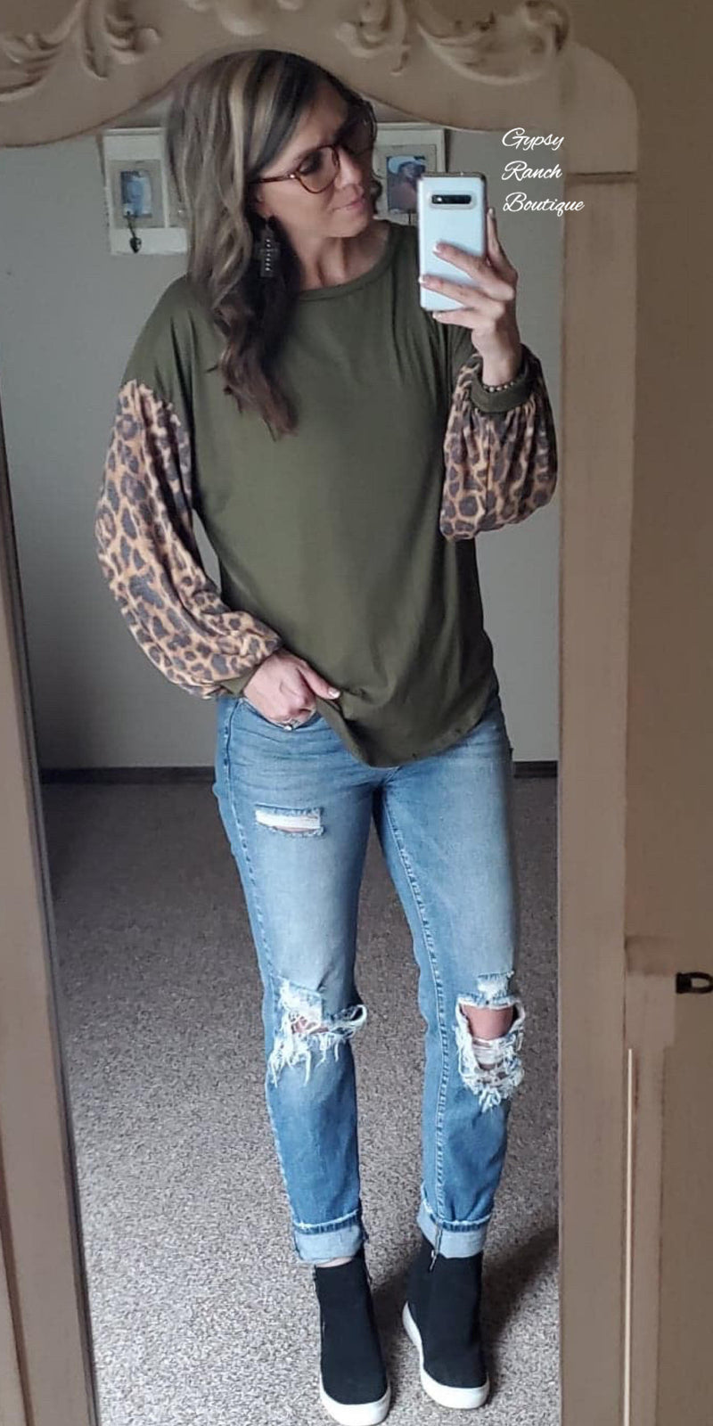 Olive Charmer Leopard Top