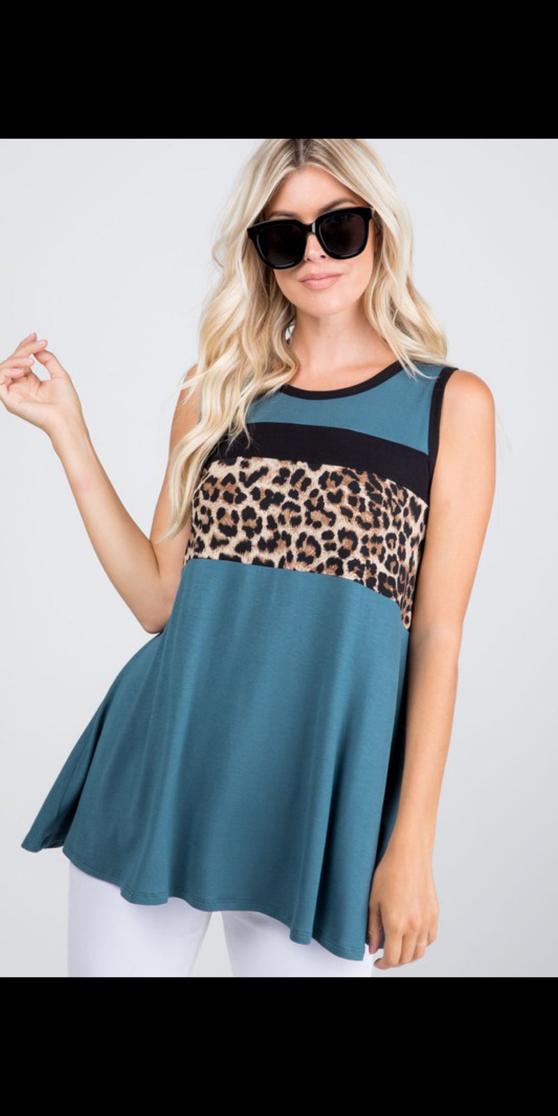 Fanning Teal Leopard Top - Also in Plus Size