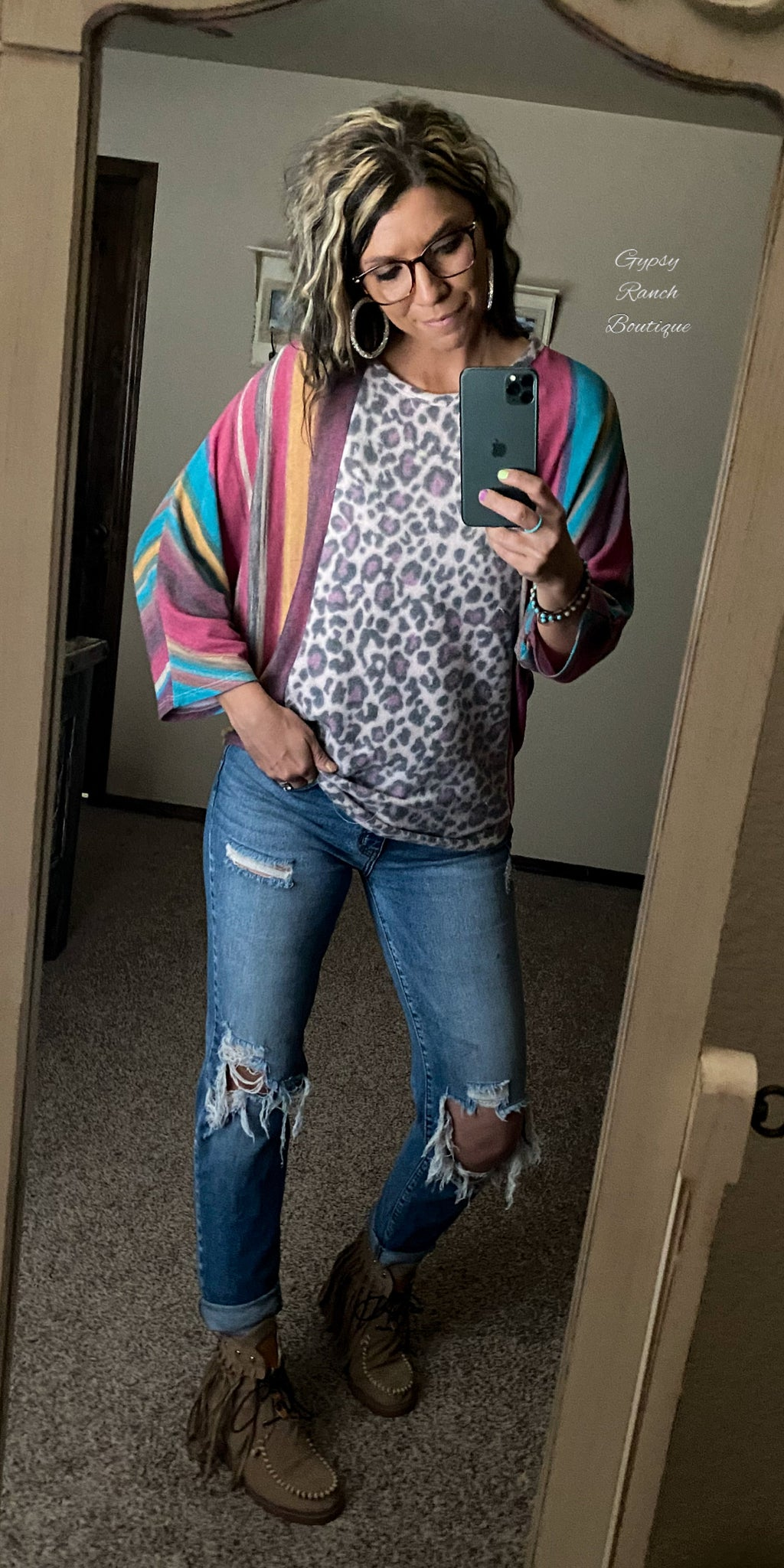 Tinley Serape & Leopard Top - Also In Plus Size