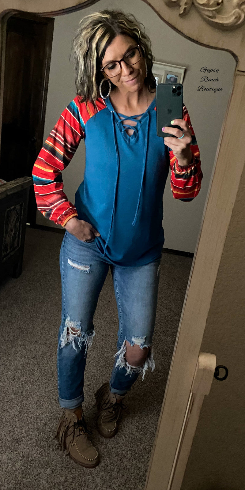 Pryor Serape Criss Cross Top - Also in Plus Size