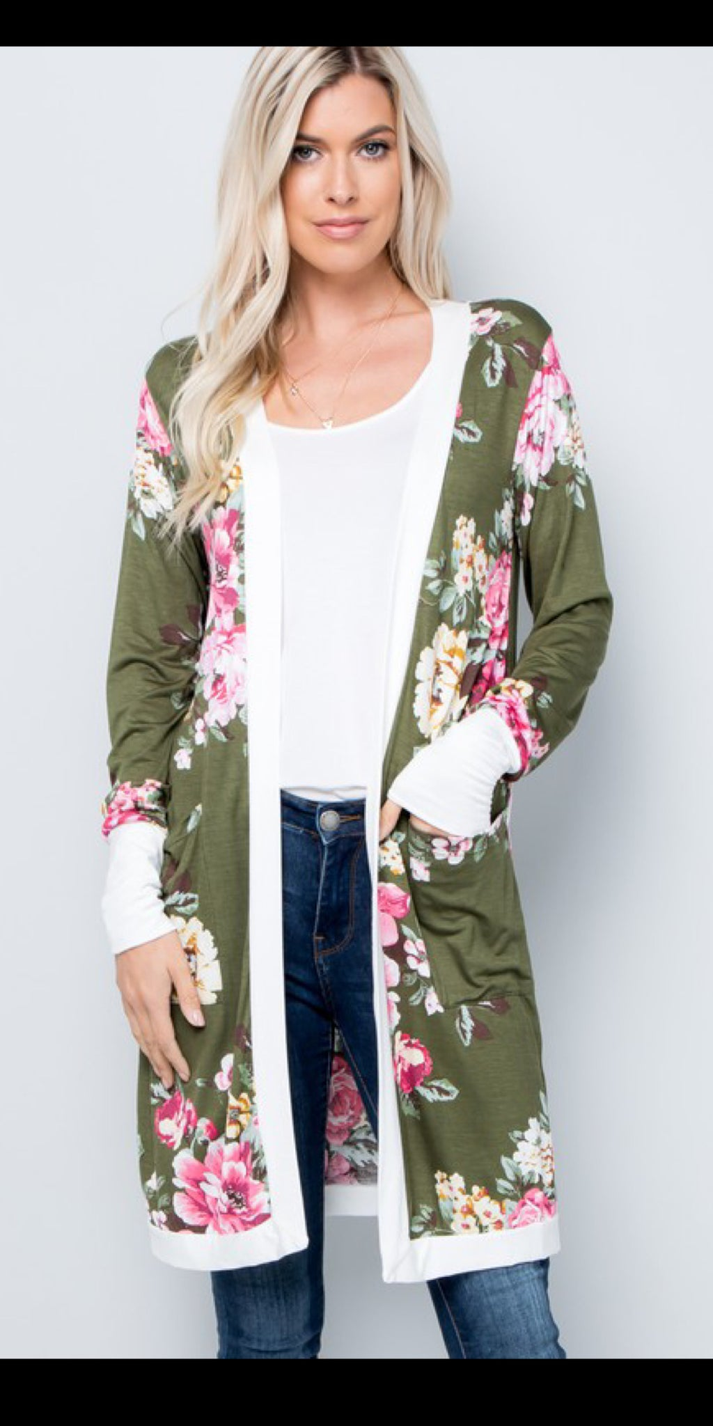 Bring on Spring Olive Floral Cardigan - Also in Plus Size