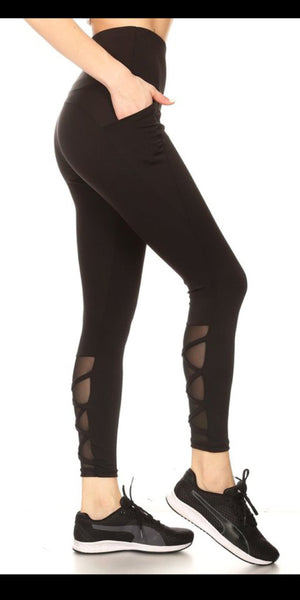 Ada Black Athletic Leggings - Also in Plus Size