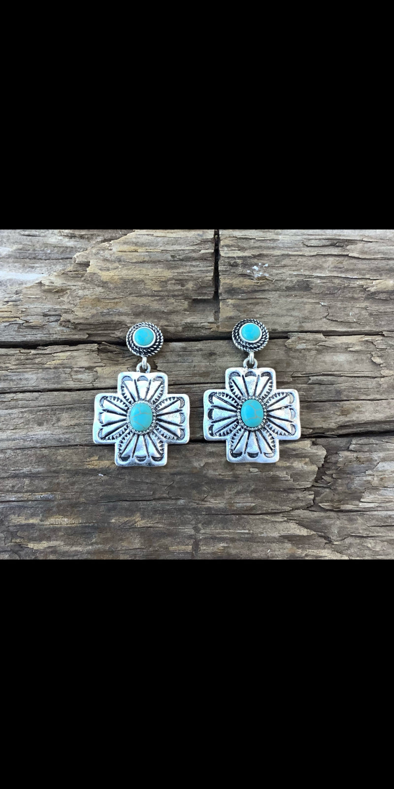 Rock Springs Cross Turquoise Earrings