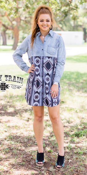 Sangria Denim & Aztec Dress or Coverup - Also in Plus Size