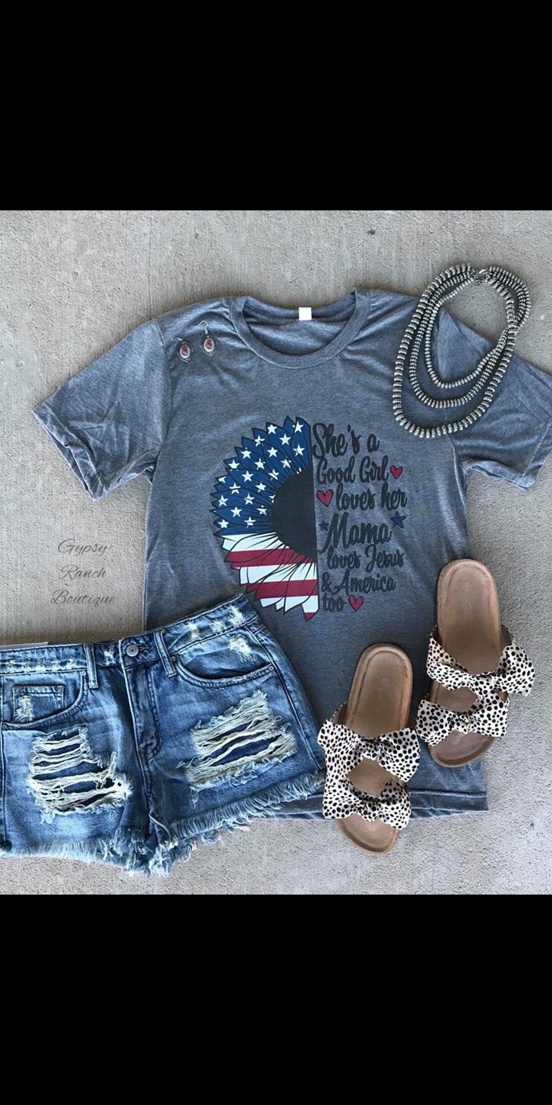 She's A Good Girl Loves Her Mama, Jesus & America Too Top - Also in Plus Size