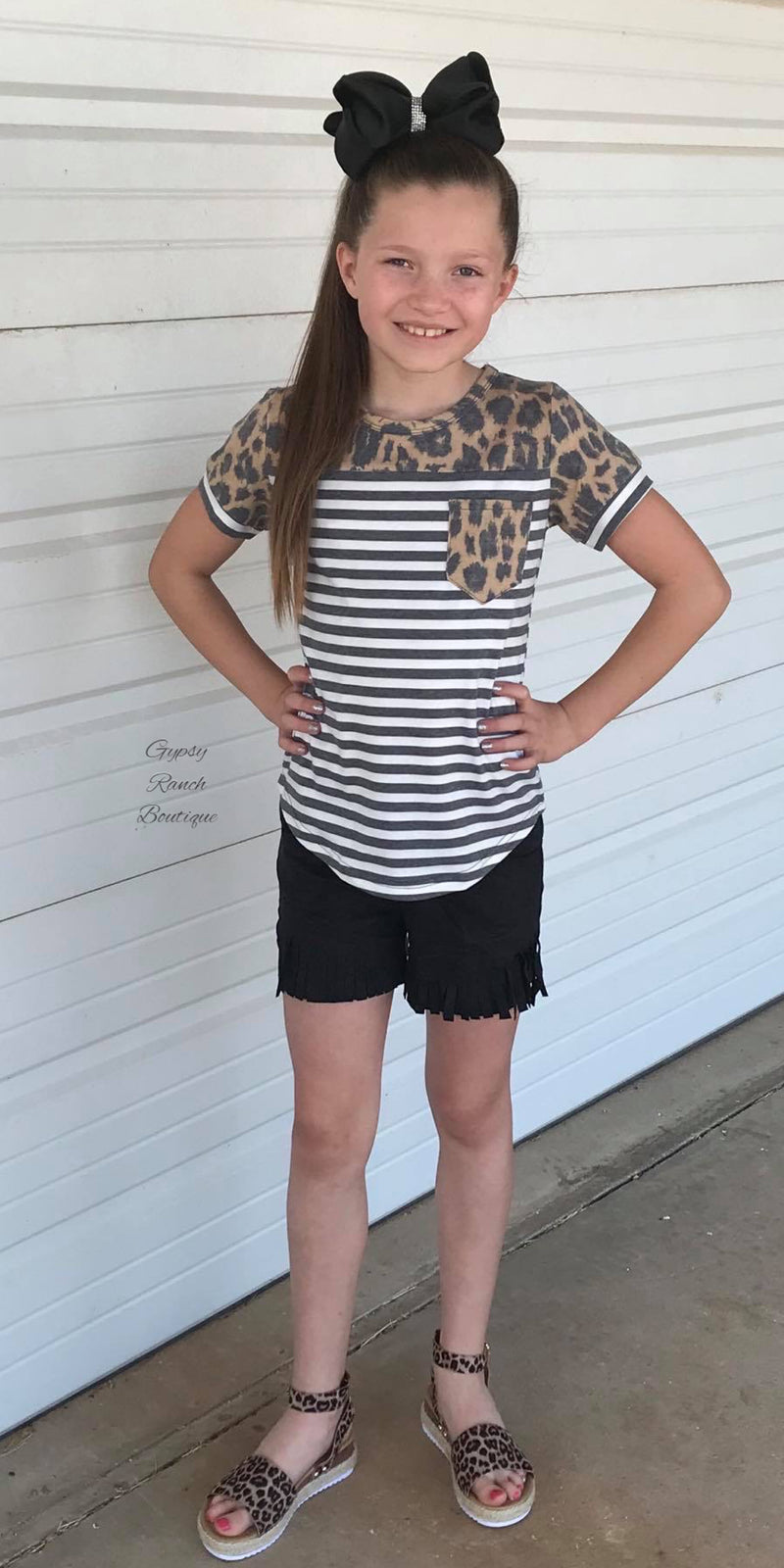 Kids Whippin Wild Leopard Stripe Top