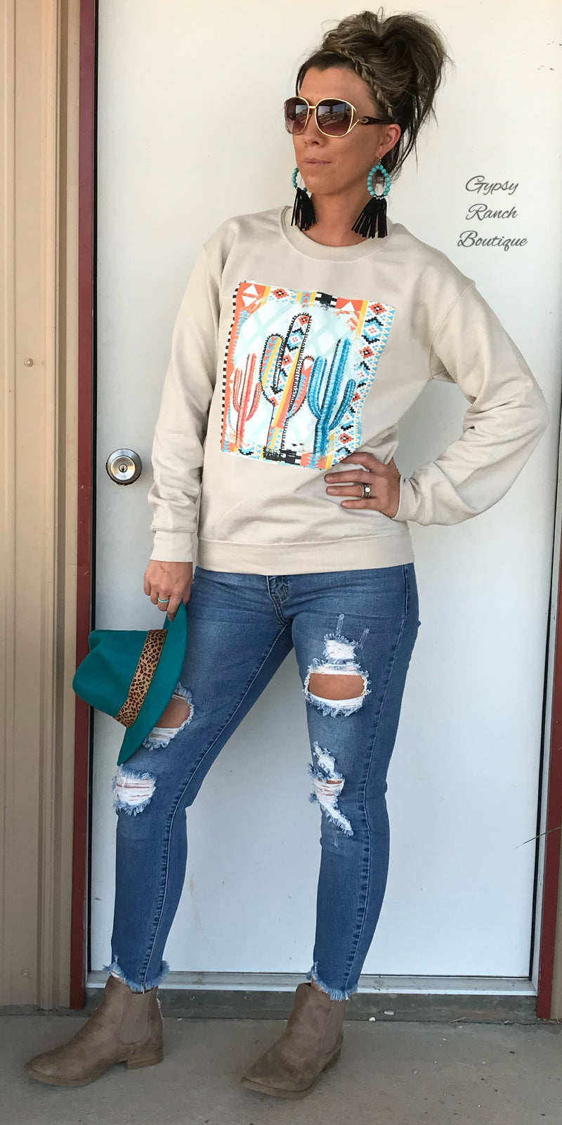 Sonora Aztec Cactus Sweatshirt Top  - Also in Plus Size