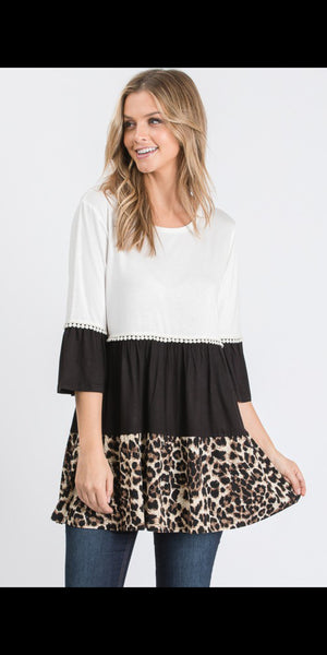 Calvary Leopard Colorblock Top - Also in Plus Size