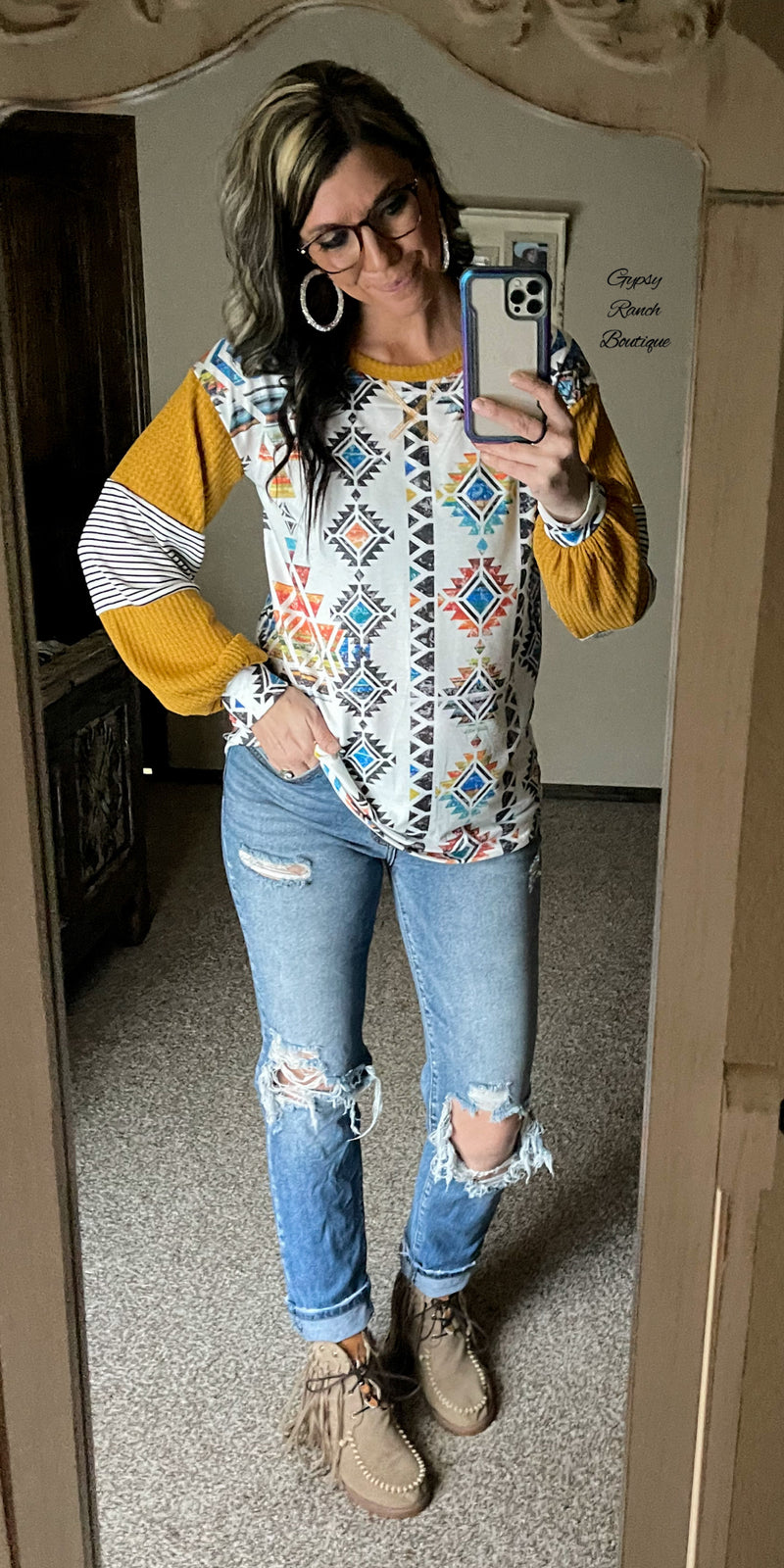 Ryler Aztec Mustard Top - Also in Plus Size