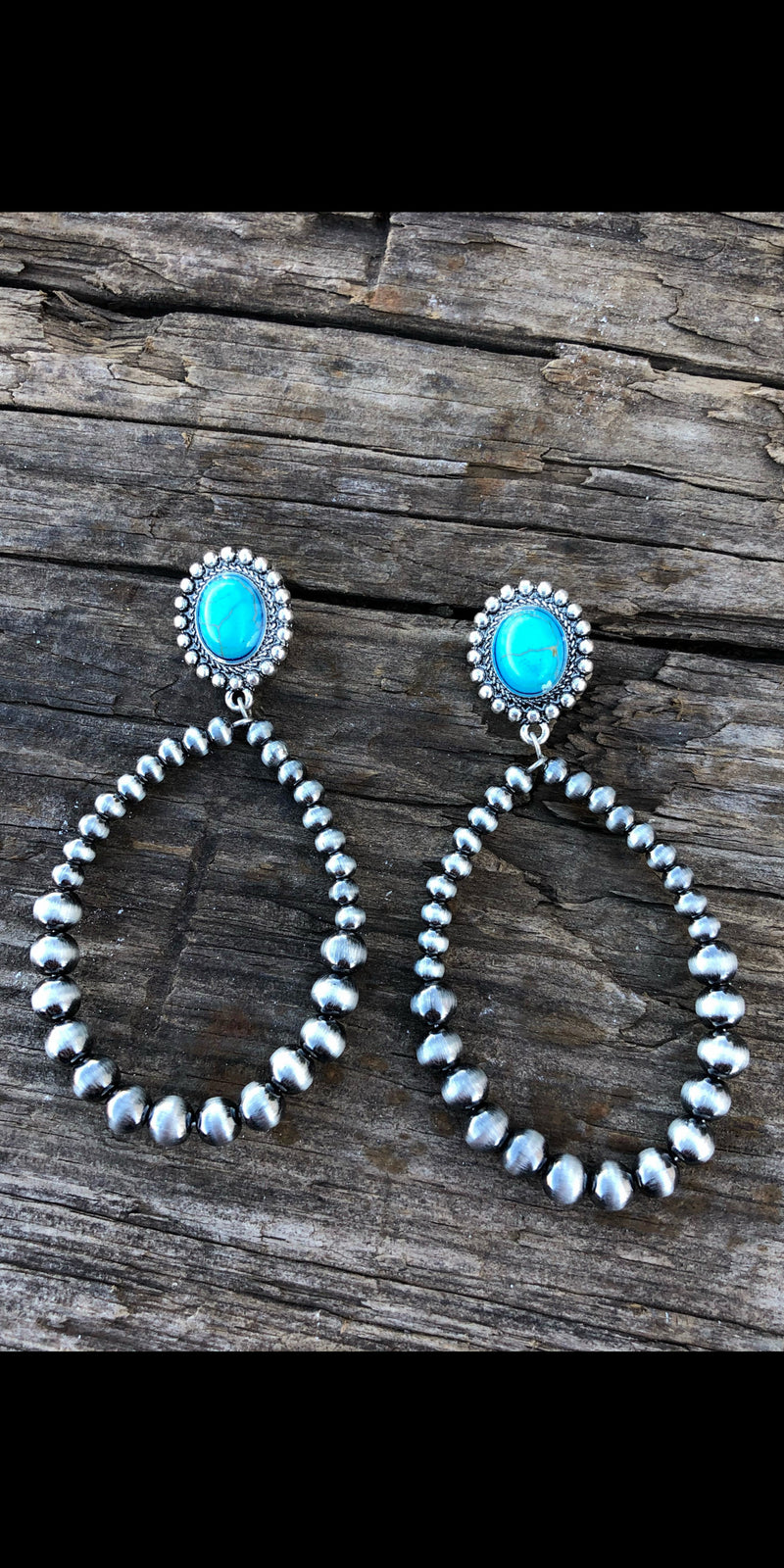 Folsom Silver Turquoise Hoop Earrings