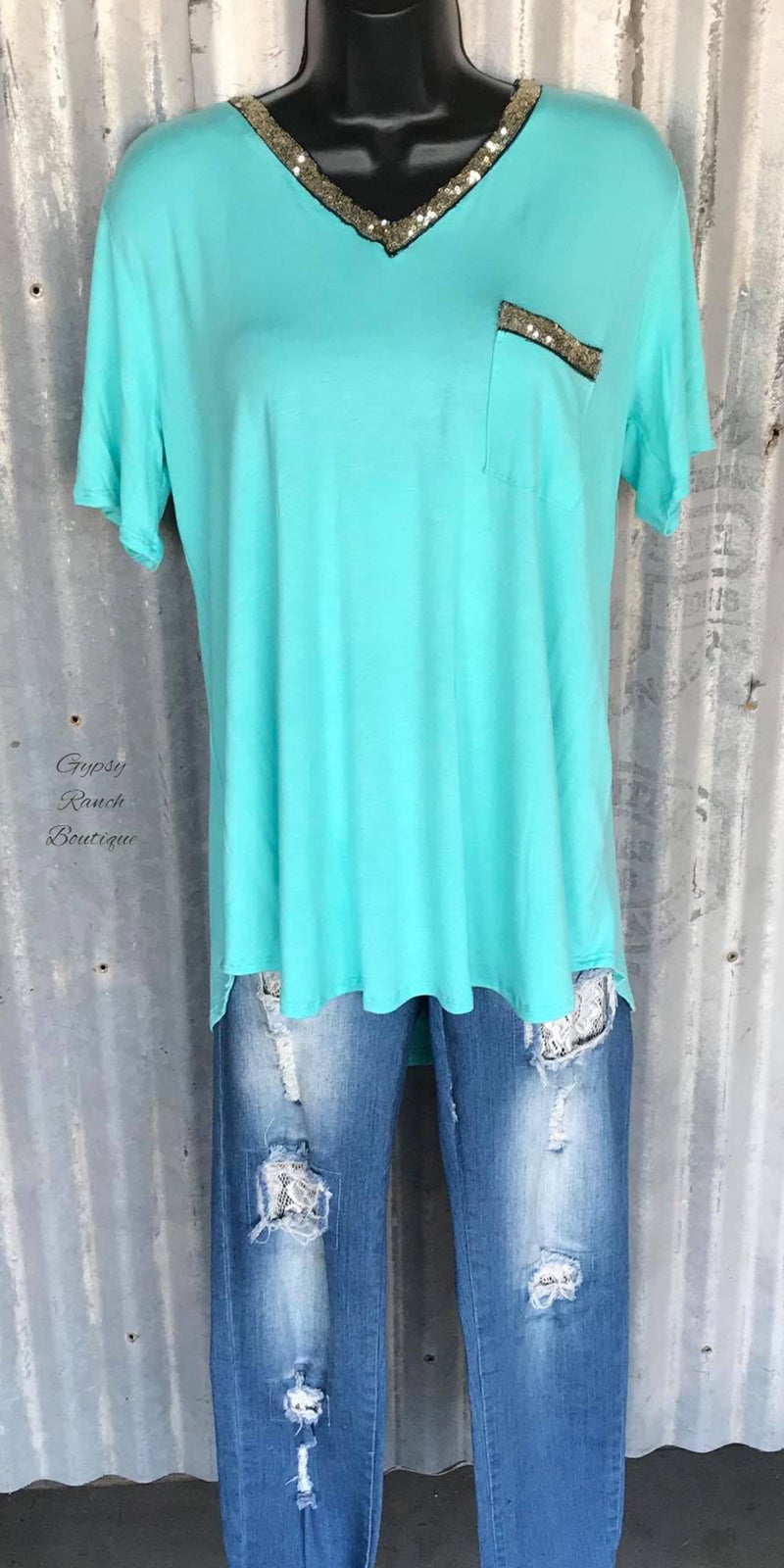 Like A Melody Mint Sequin Top - Also in Plus Size