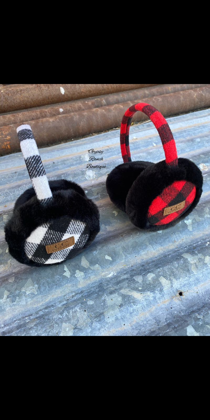 CC Buffalo Plaid Ear Warmer Headband