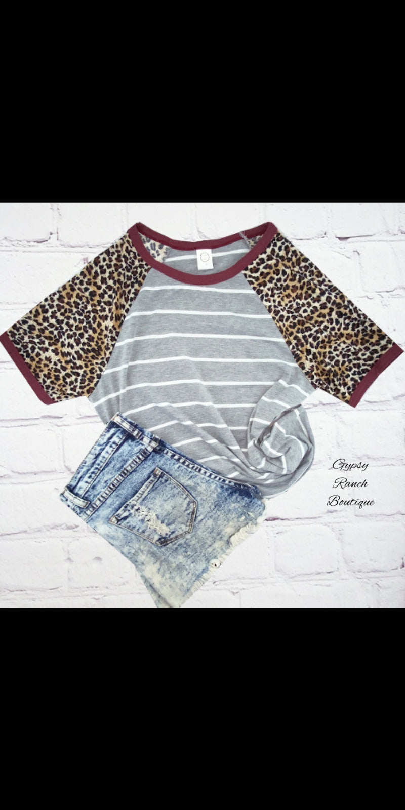 Jolee Leopard Stripe Top - Also in Plus Size
