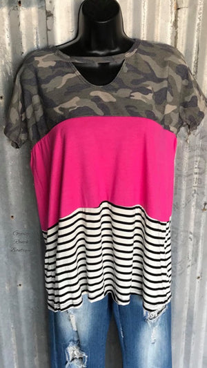 Mackie Pink Camo Stripe Top - Also in Plus Size