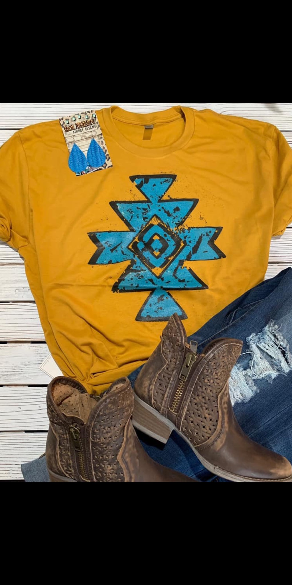 Quanah Mustard Turquoise Aztec Top - Also in Plus Size