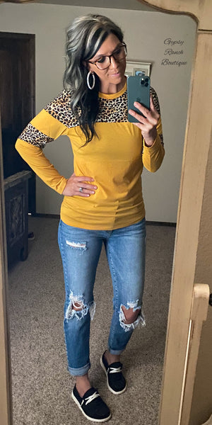 Raeley Mustard Leopard Top - Also in Plus Size