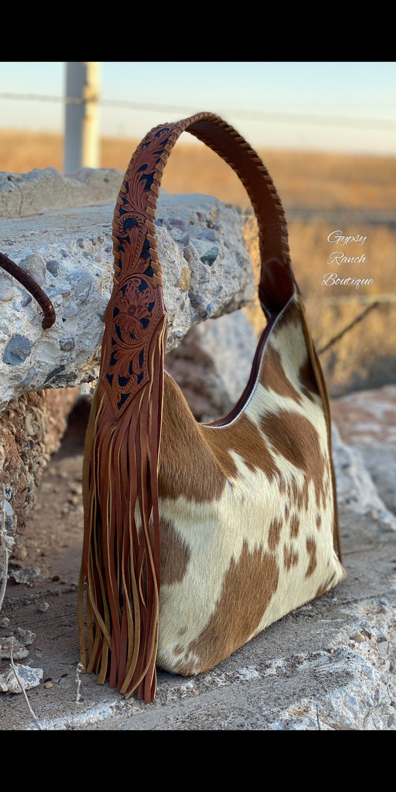 Ranch Swag Cowhide Fringe Tooled Leather Concealed Carry Purse