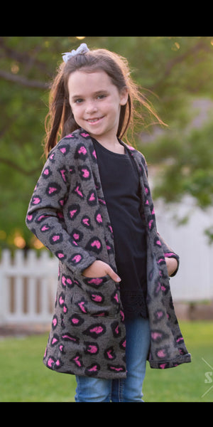 Kids Stacked in Style Leopard Cardigan