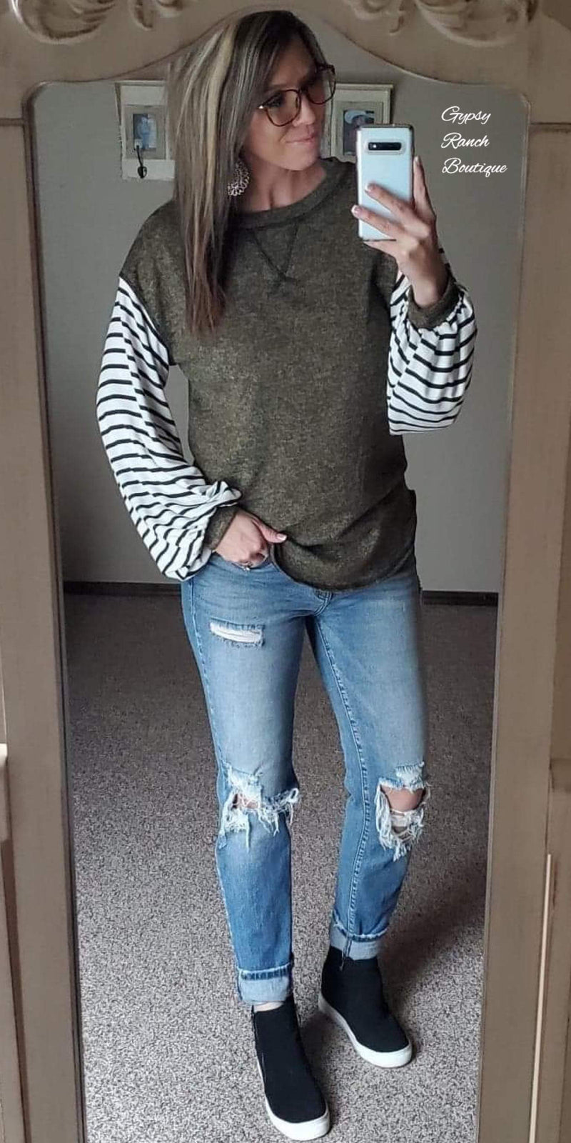 Olive You Stripe Bubble Sleeve Top