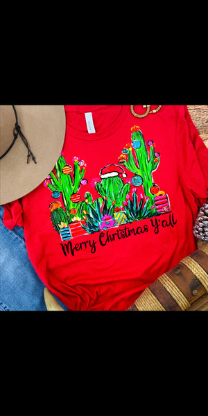 Merry Christmas Y'all Cactus Top - Also in Plus Size