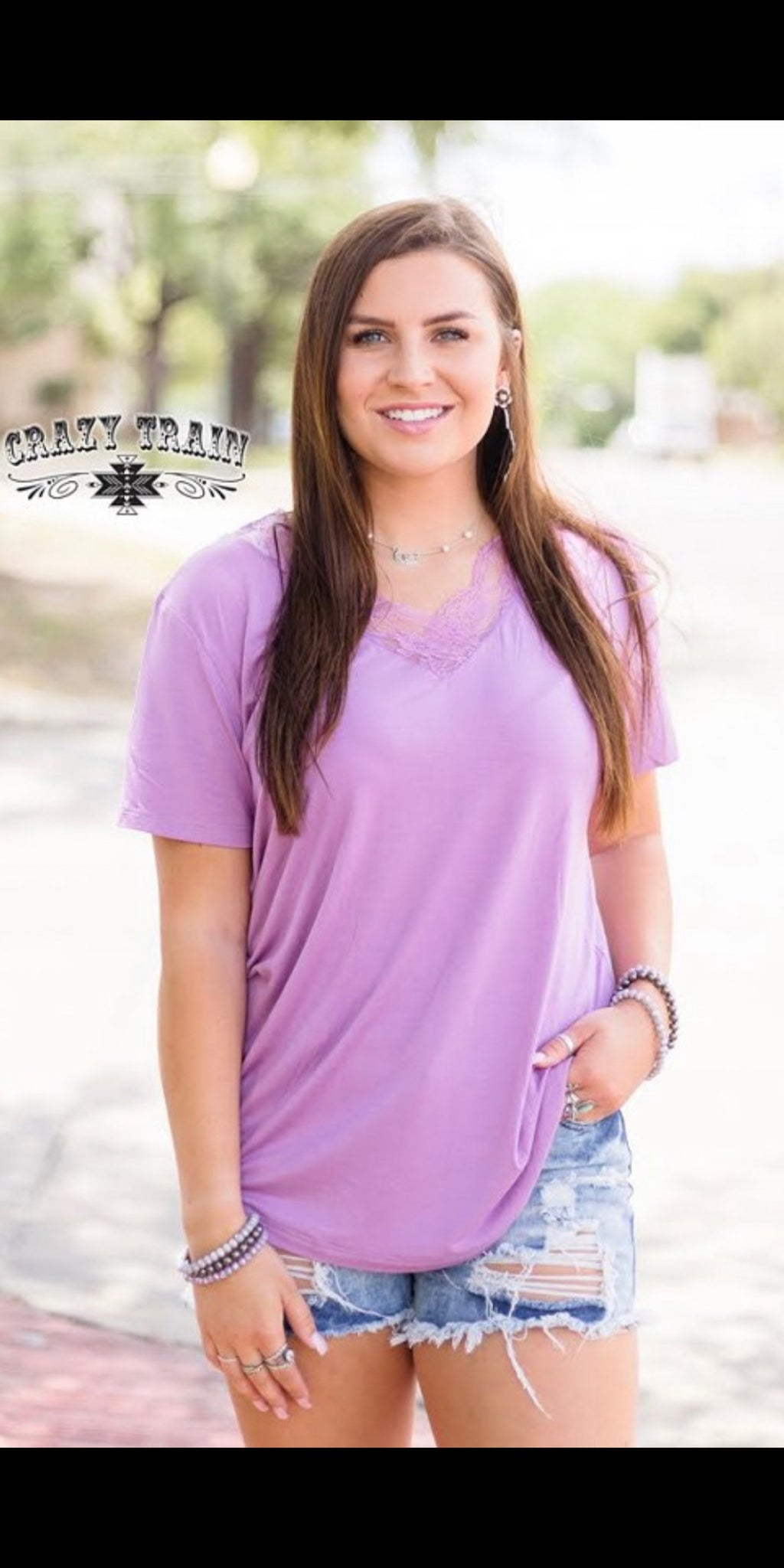 Very Fave Lavender Lace V Neck Top - Also in Plus Size