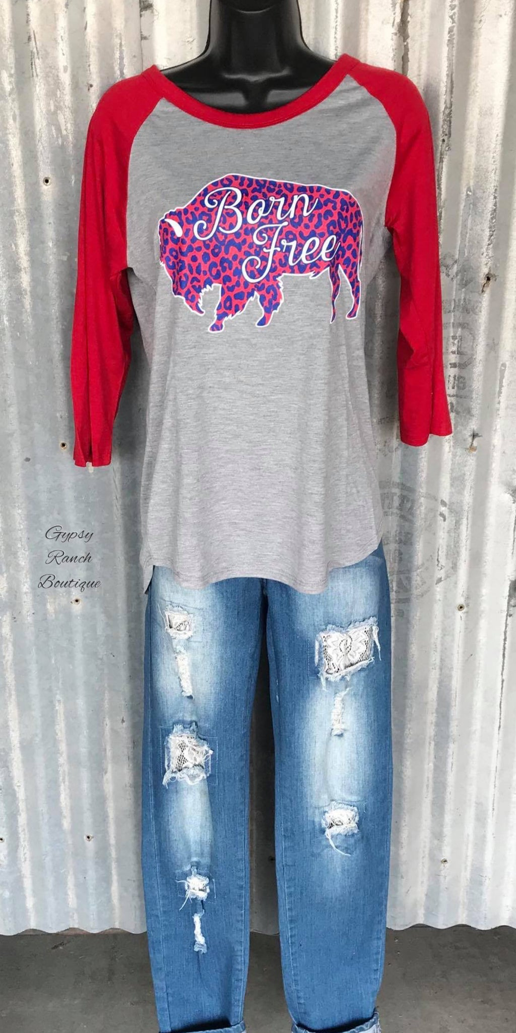 Born Free Leopard Grey Raglan Top - Also in Plus Size