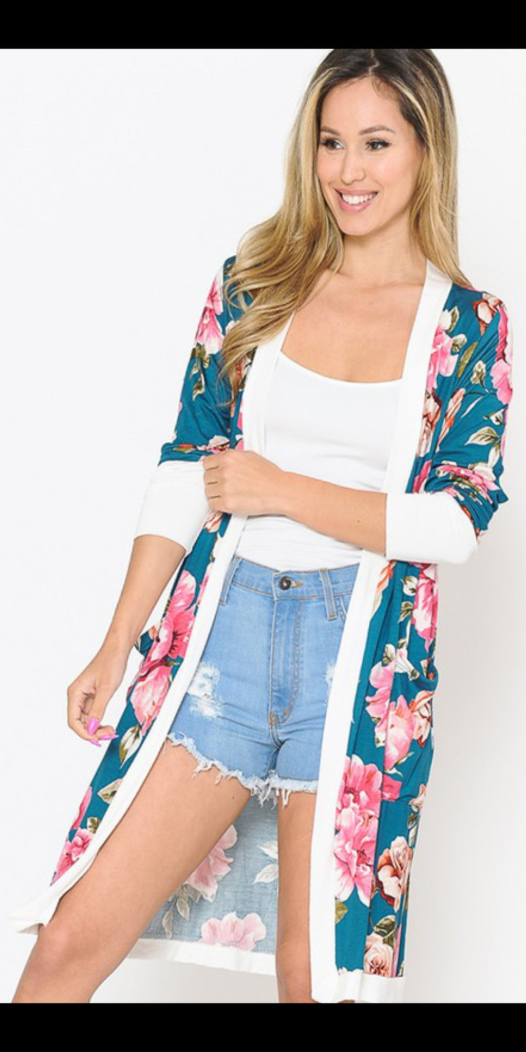 Tesla Teal Floral Cardigan - Also in Plus Size