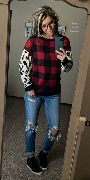 Yukon Leopard Buffalo Plaid Top - Also in Plus Size