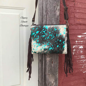 Weekend Getaway Turquoise Cowhide Fringe Purse