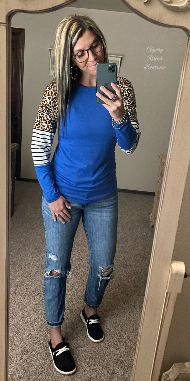 Varsity Blues Stripe Leopard Top - Also in Plus Size