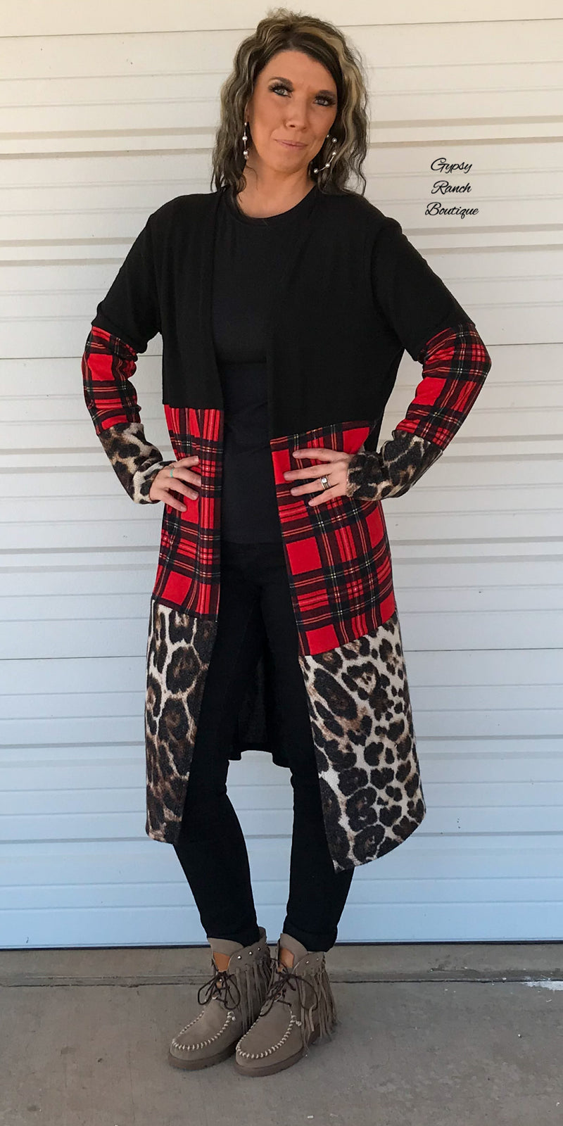 Palmer Leopard Plaid Cardigan -Also in Plus Size