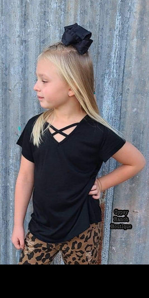 Kids Black Criss Cross Top