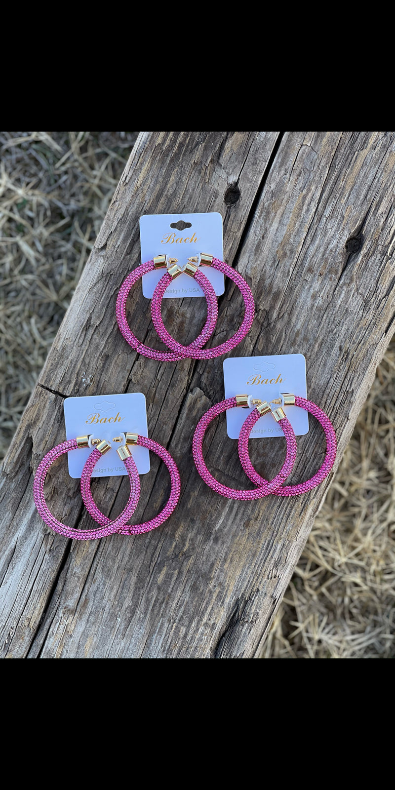 Alyssa Pink Rhinestone Hoop Earrings