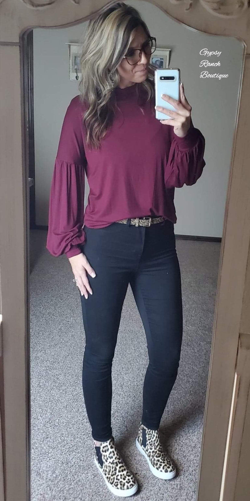 Wine Solid Bubble Sleeve Top