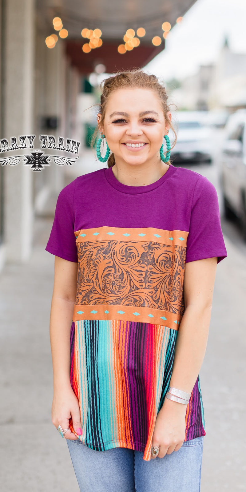 Ranch Royalty Serape Tooled Top - Also in Plus Size
