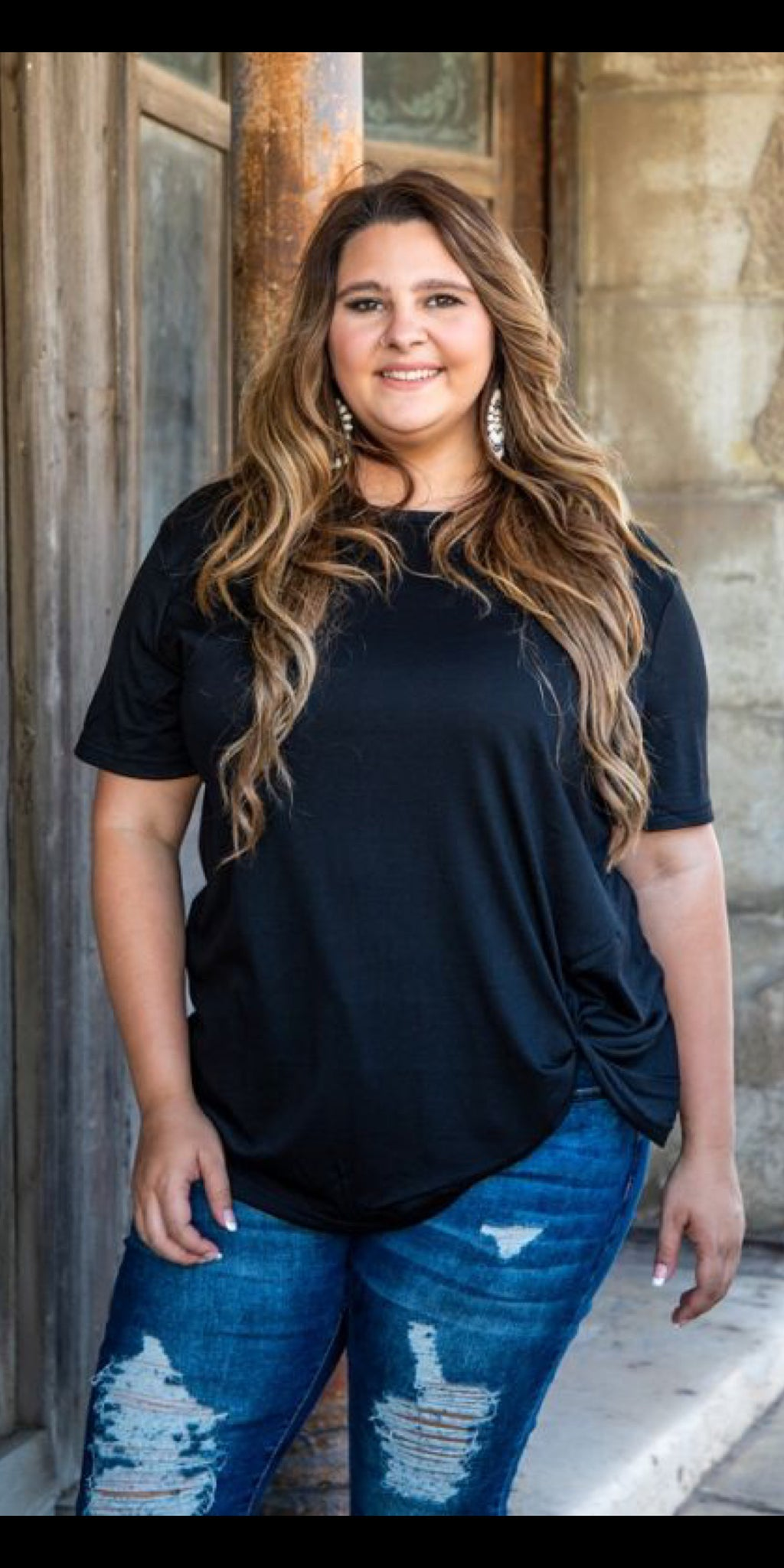 Take it Easy Black Knotty Top - Also in Plus Size